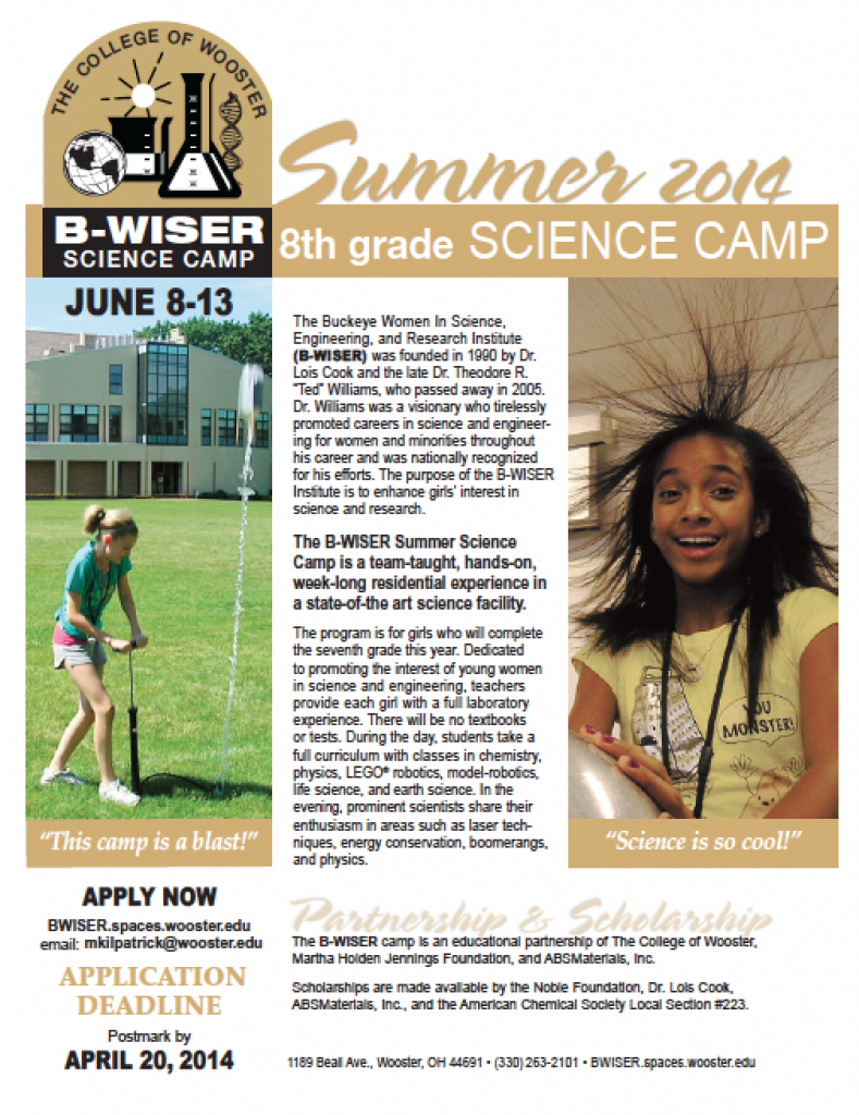 The B-WISER summer camp's 2014 flyer.