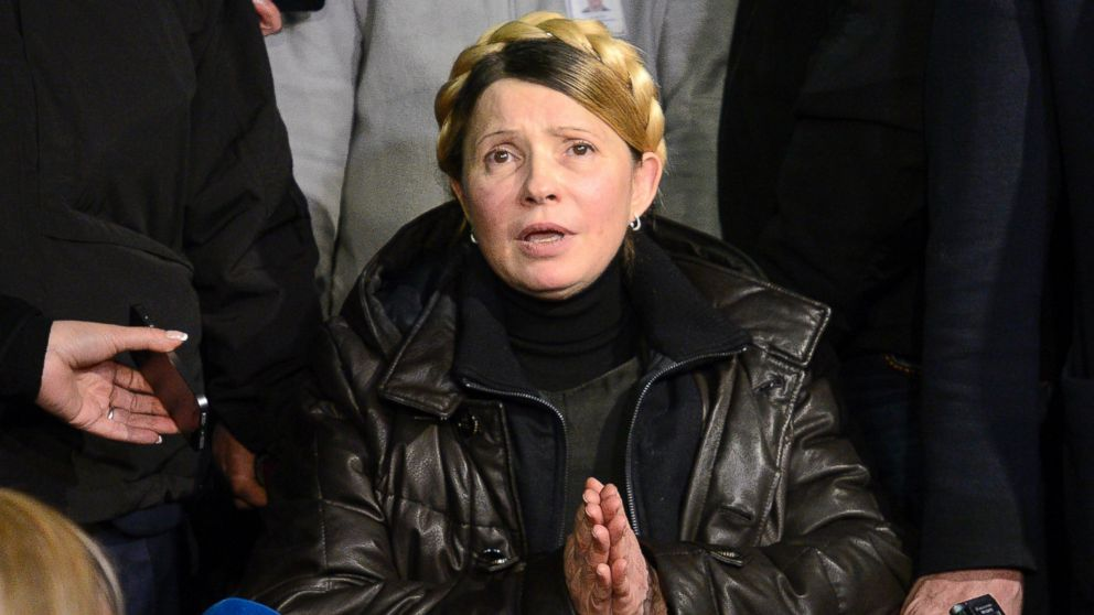 Yulia Tymoschenko recently released from prison and addressing EuroMaidan. From ABC News. Feb. 22, 2014